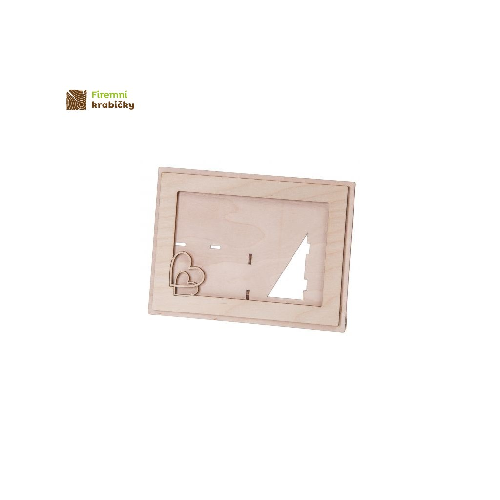 ramka drewniana na zdjecie 15x10 cm z sercem