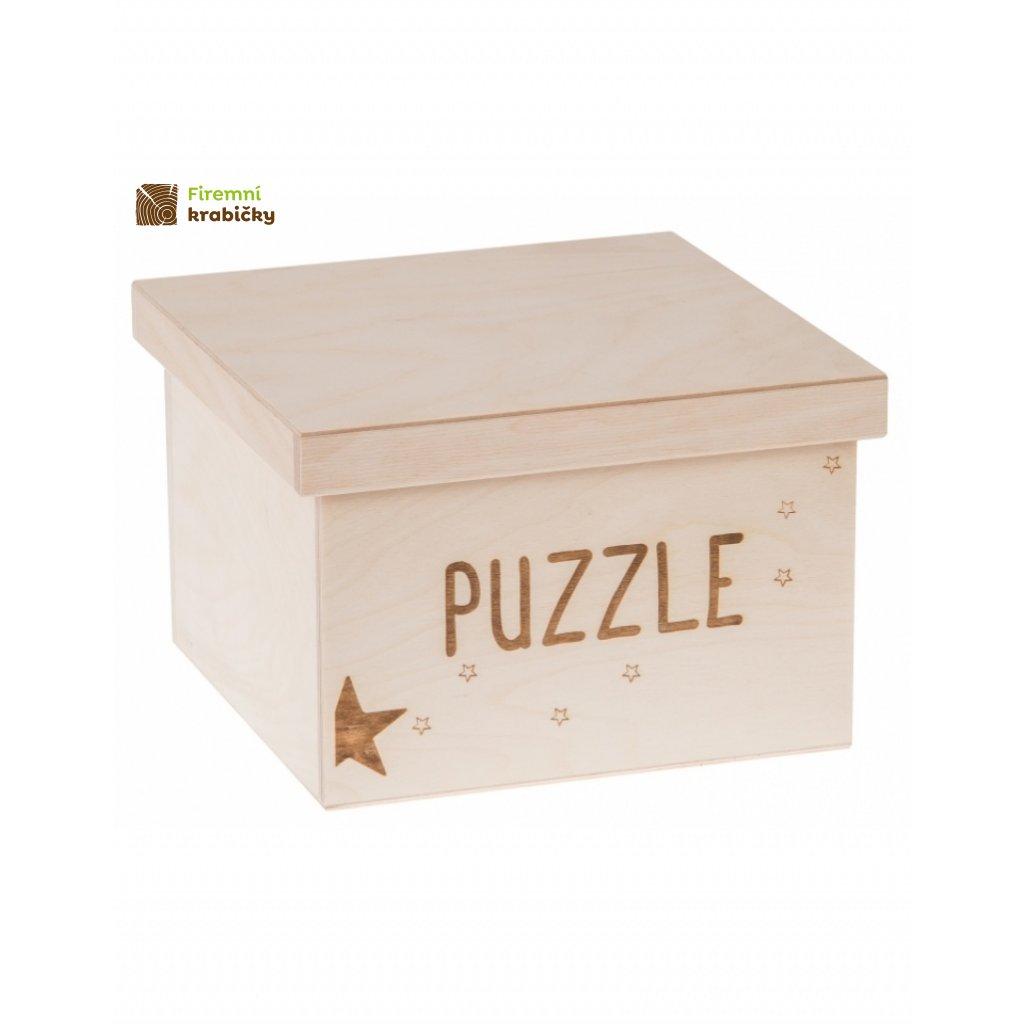 12233 dreveny box na hracky puzzle gravir velky