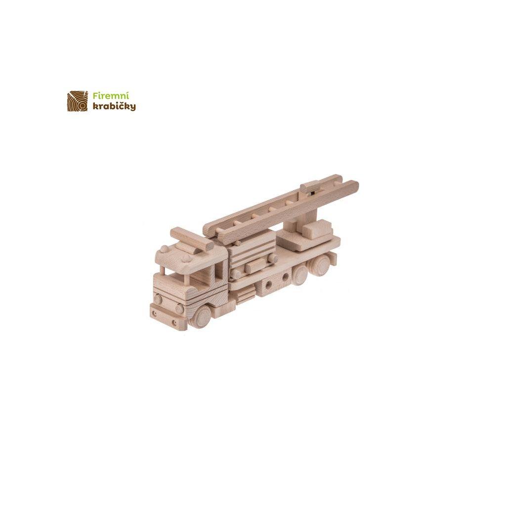 drewniany woz strazacki zabawka
