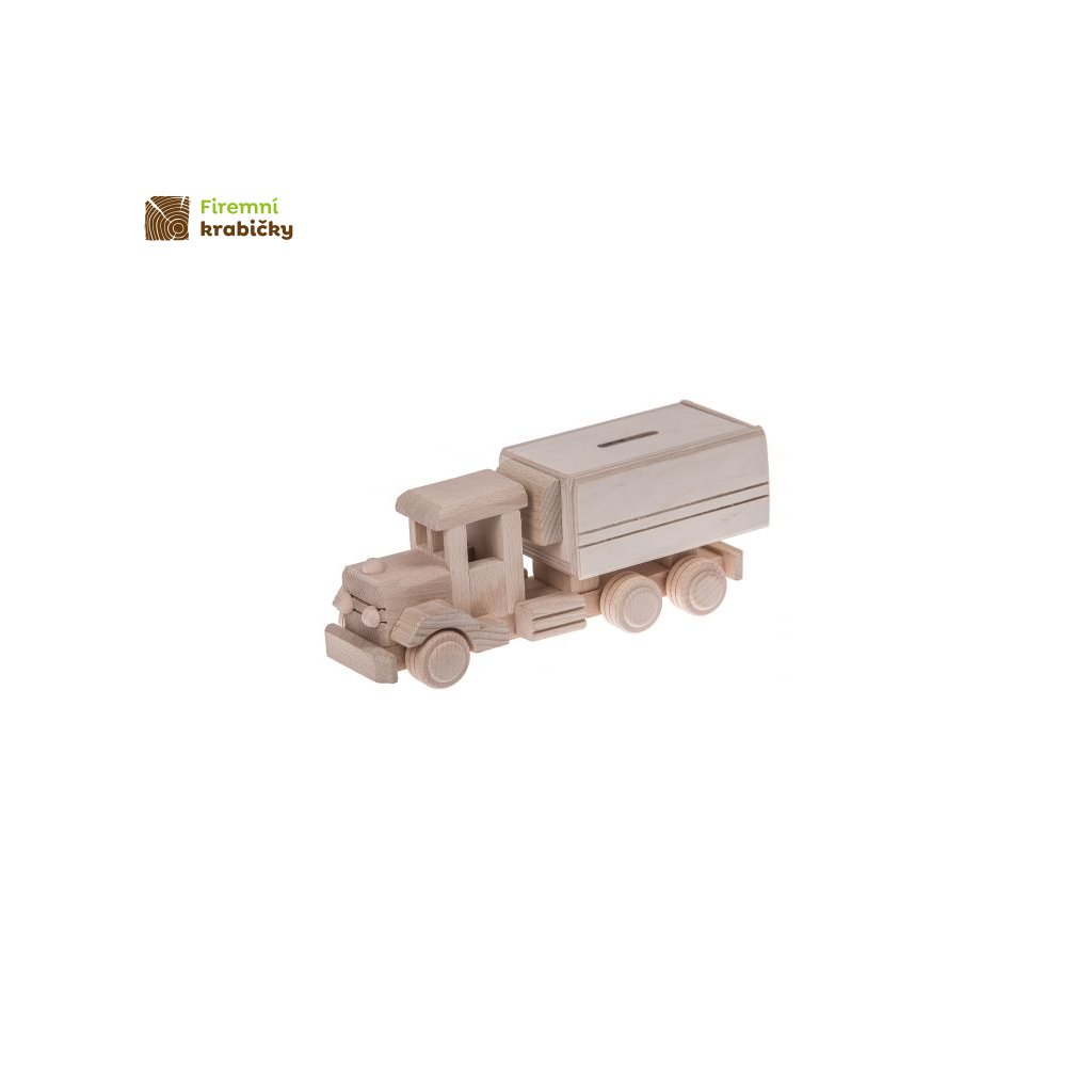 drewniana ciezarowka skarbonka