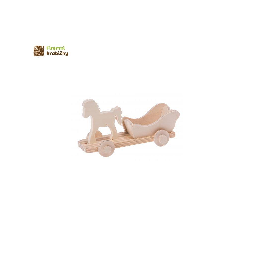 drewniany konik z bryczka maly