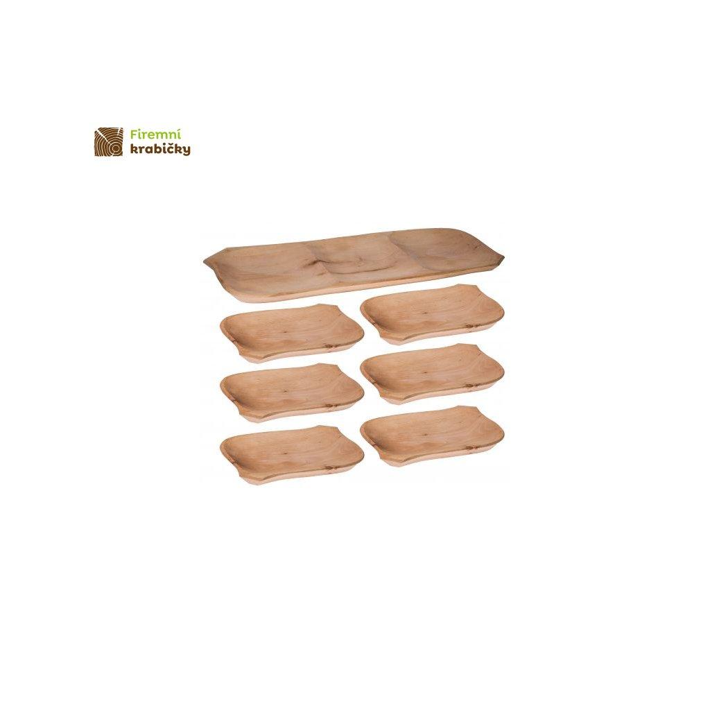 koryto drewniane 6 talerzykow