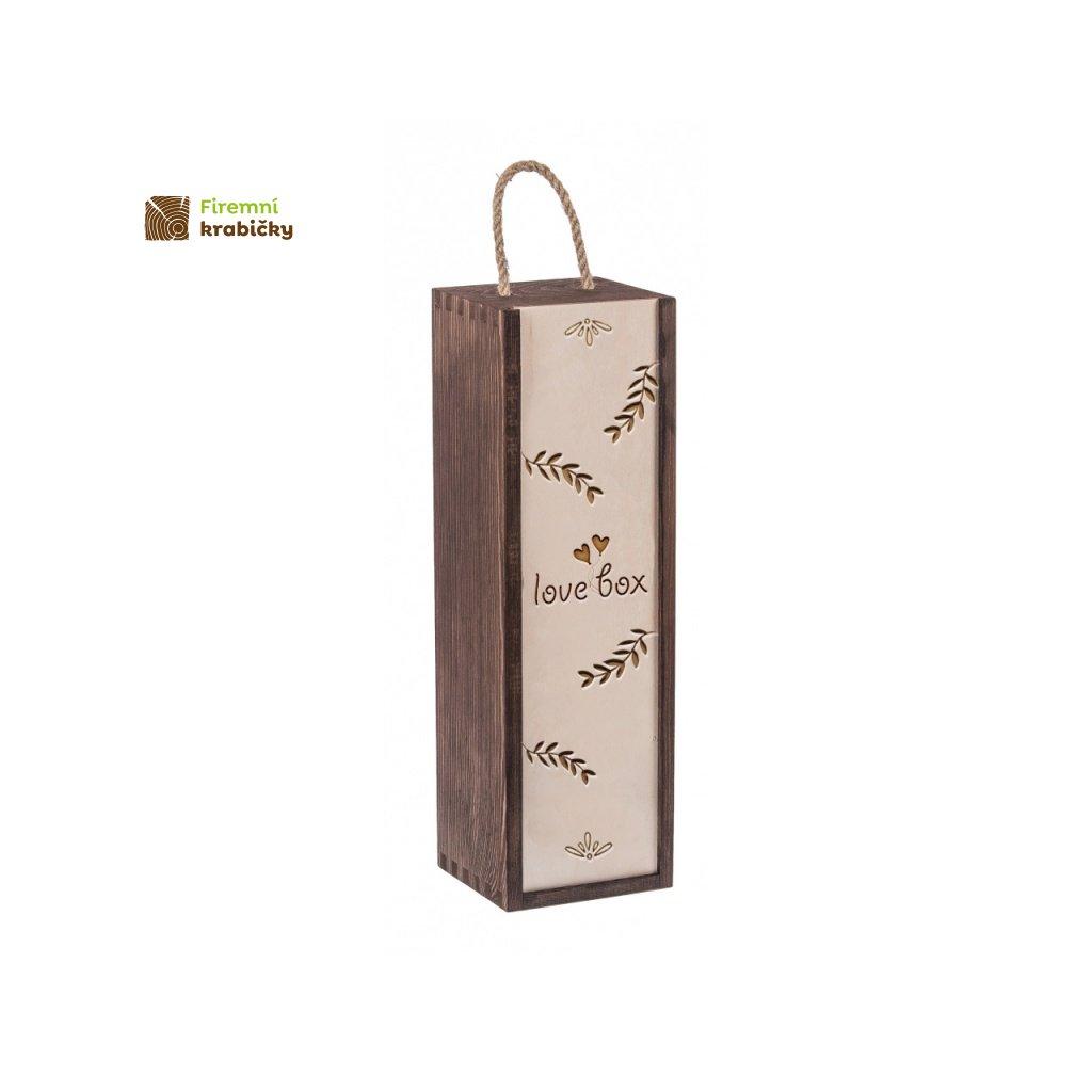 11987 dreveny box na vino lovebox tmava barva