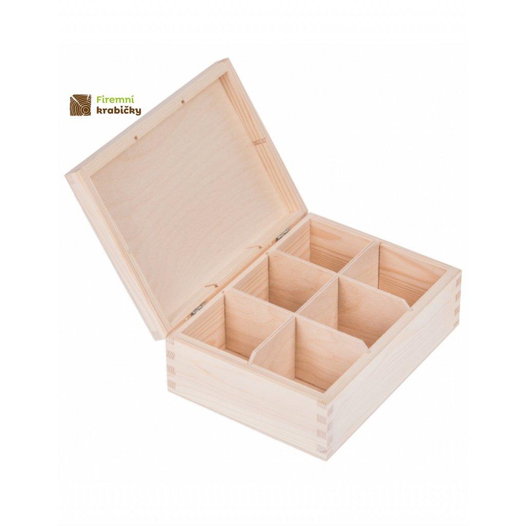 12245 drevena krabicka na caj 6 prihradek