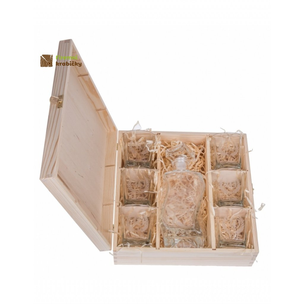 12251 drevena krabicka na 6 sklenic a karafu natural