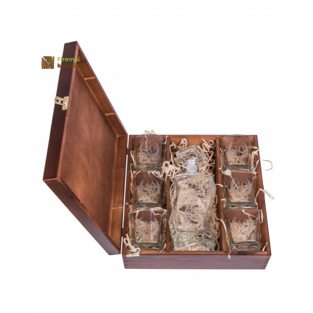 12254 drevena krabicka na 6 sklenic a karafu orech