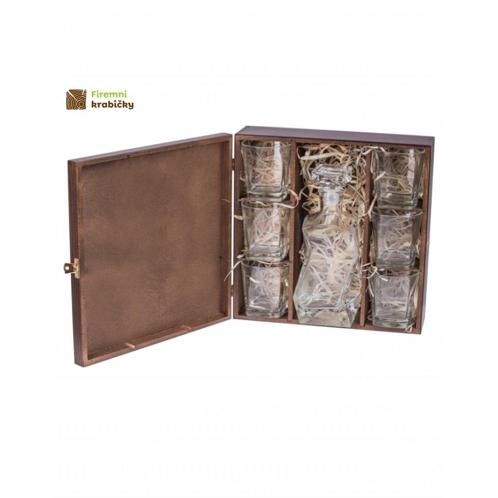 12257 drevena krabicka na 6 sklenic a karafu tmava