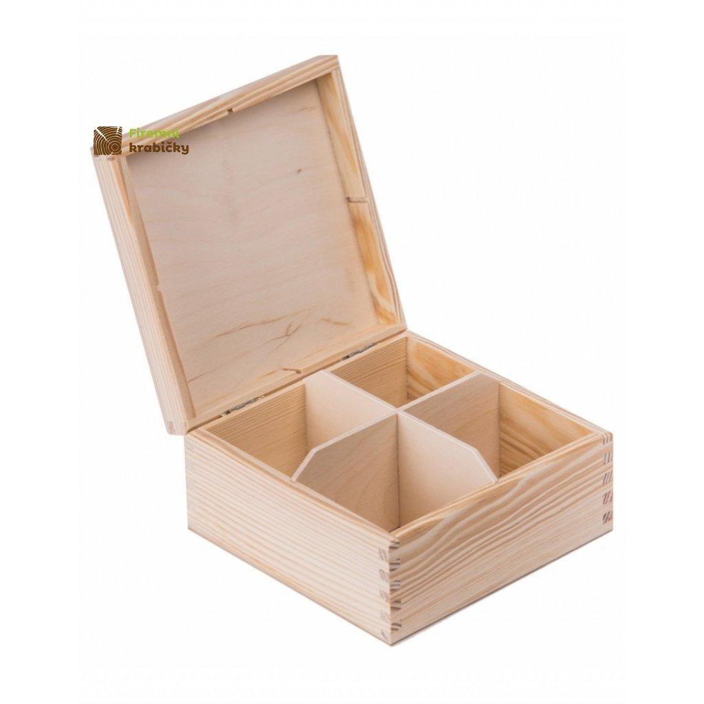 12266 drevena krabicka na caj 4 prihradky