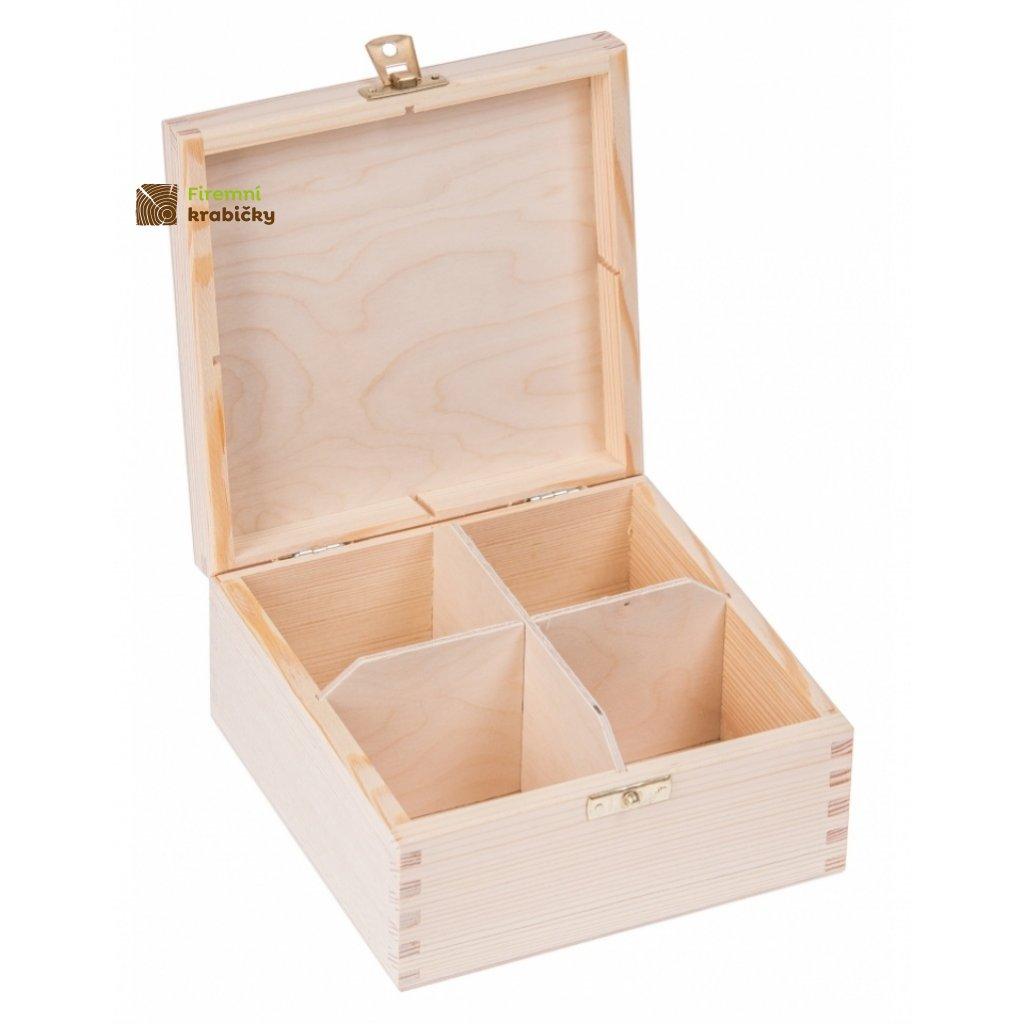 12269 drevena krabicka na caj se zapadkou 4 prihradky