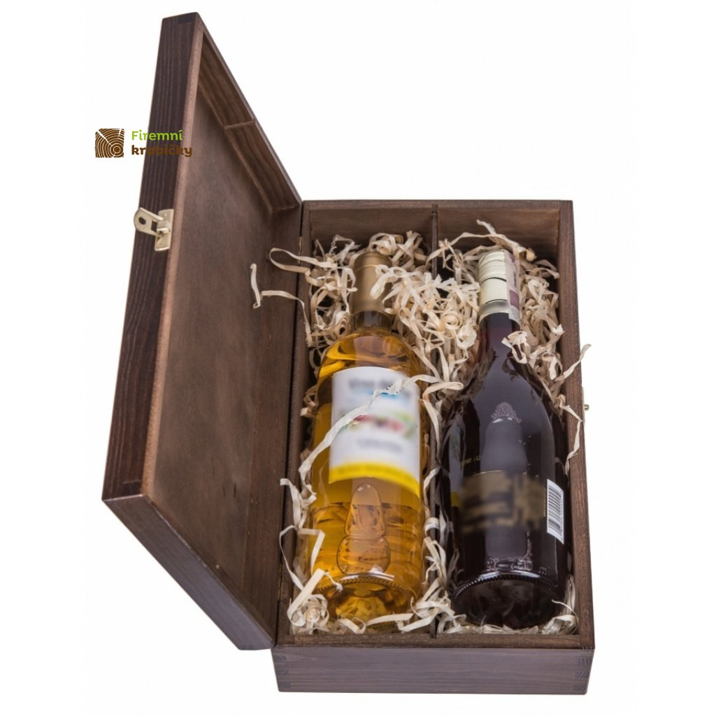 12275 drevena krabicka na 2 lahve vina tmava