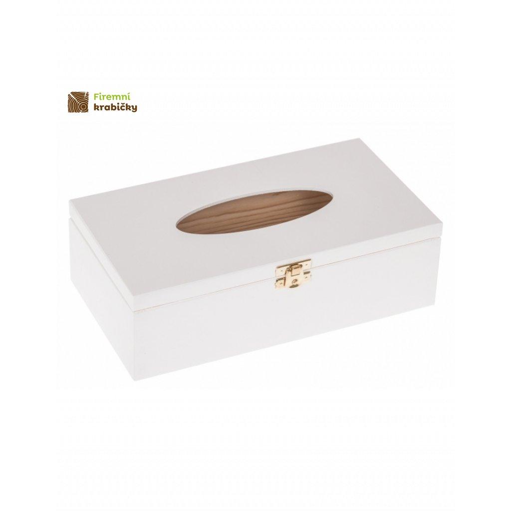 12620 drevena krabicka na kapesniky bila