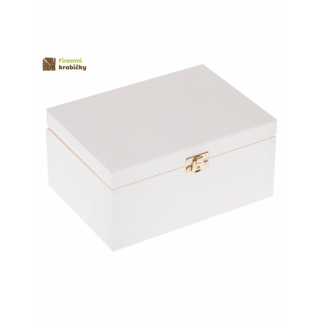 12629 drevena krabicka 22 x 16 cm bila