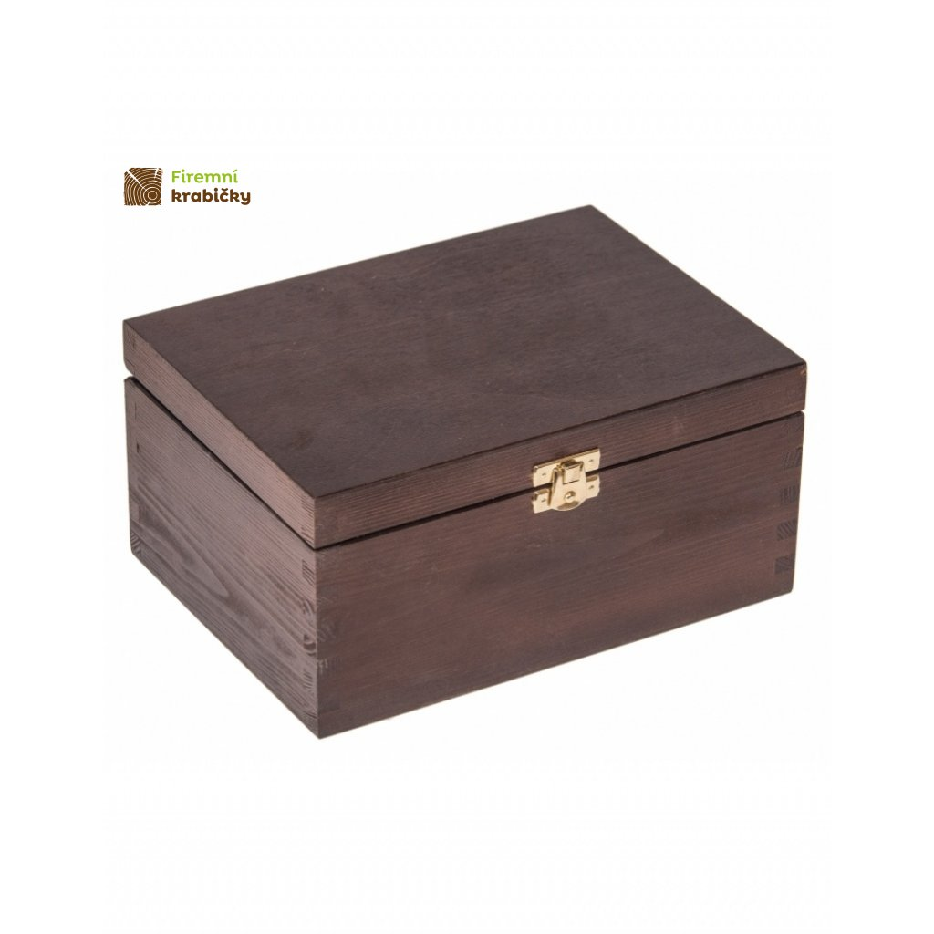 12632 drevena krabicka 22 x 16 cm tmava