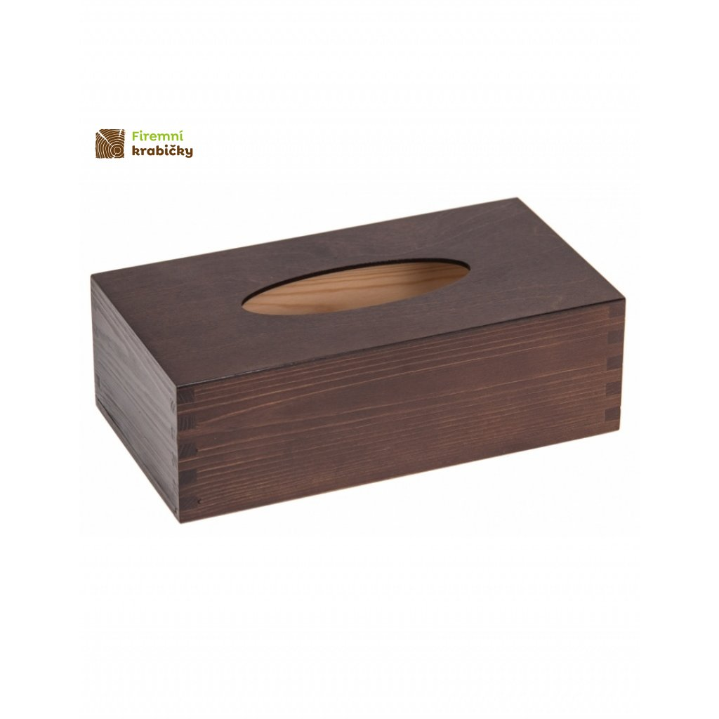 12641 drevena krabicka na kapesniky tmava