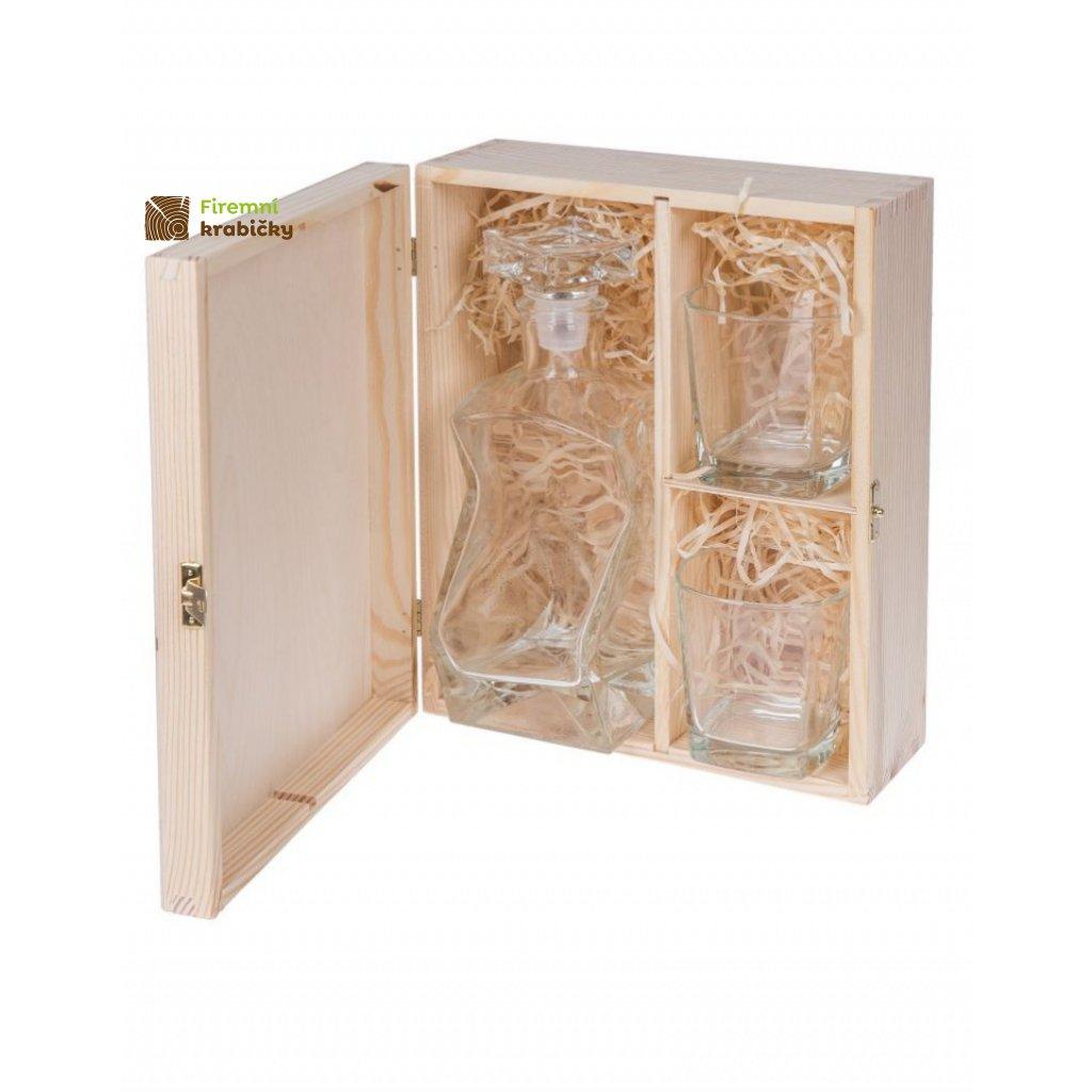 13277 drevena krabicka box na karafu a dve sklenice