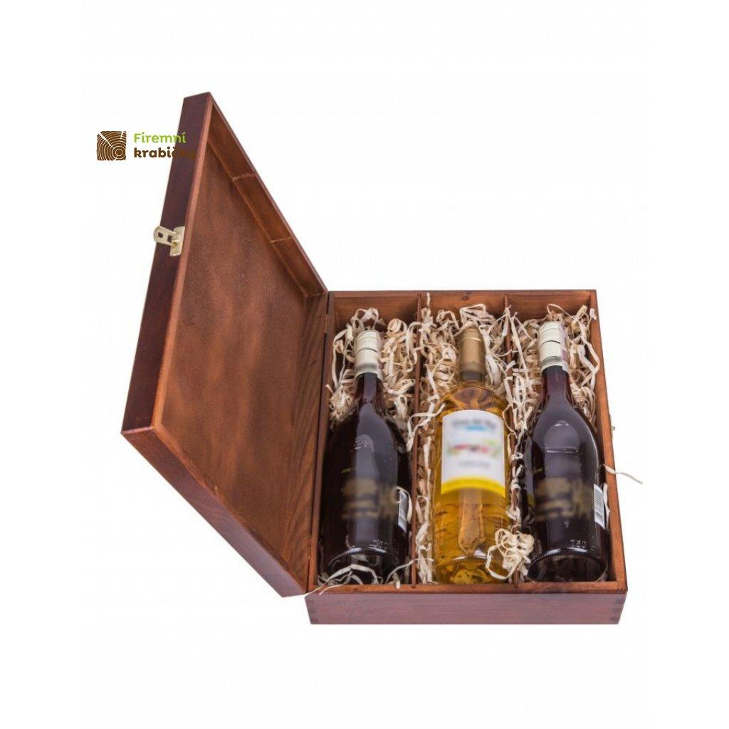 13289 drevena krabicka box na tri lahve vina orech
