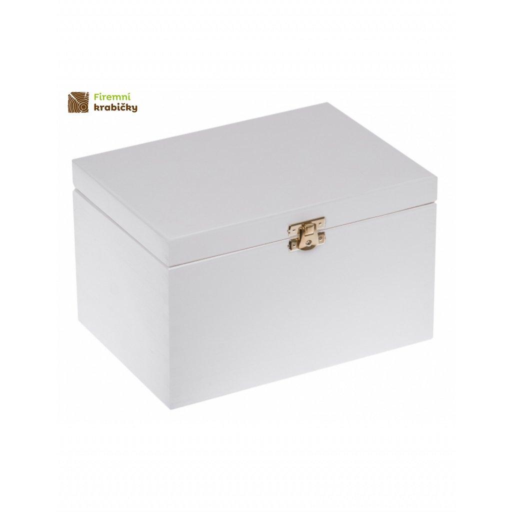 13349 drevena krabicka 22x16x13 5 cm se sponou bila