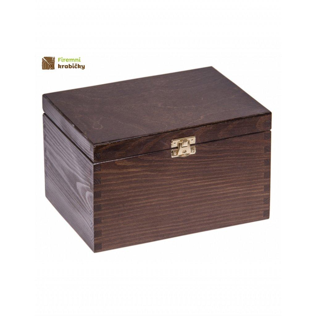 13352 drevena krabicka 22x16x13 5 cm se sponou tmave hneda
