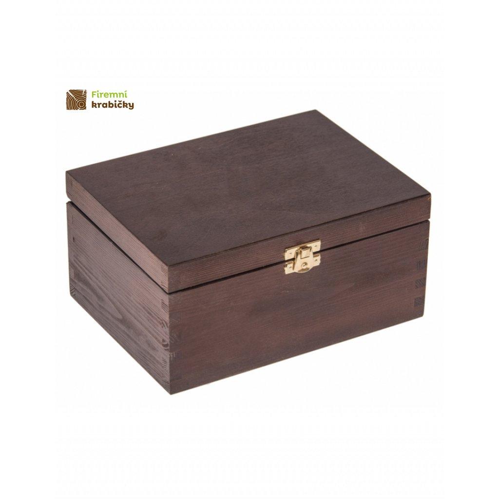13439 drevena krabicka 22x16x10 5 cm z tmave hneda