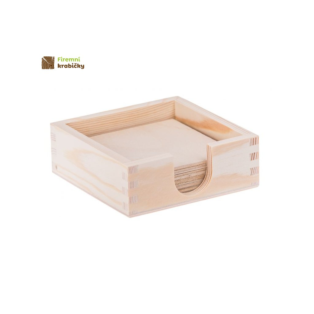 drewniane pudelko pojemnik na podkladki 8 podkladek