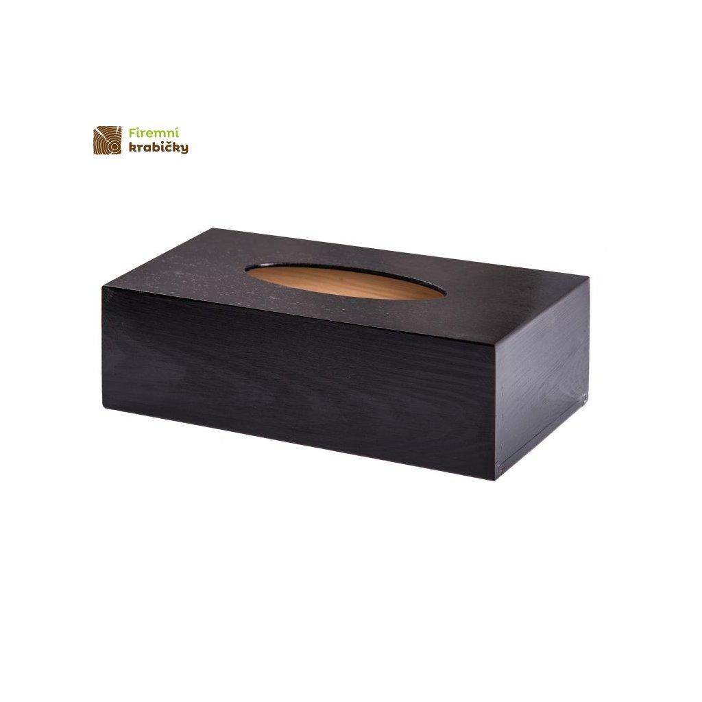 czarne drewniane pudelko na chusteczki