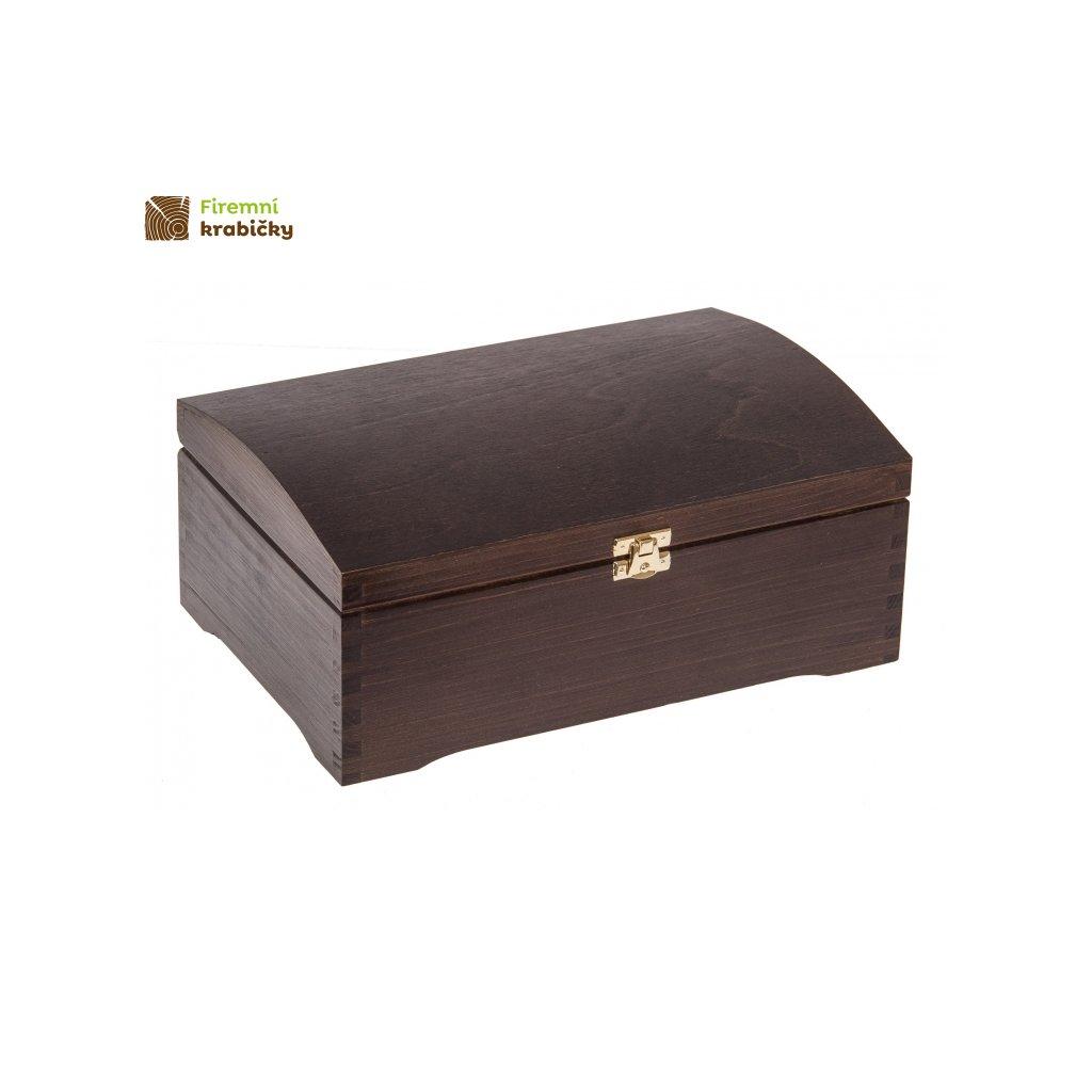 kufer sosnowy z zapieciem ciemny braz