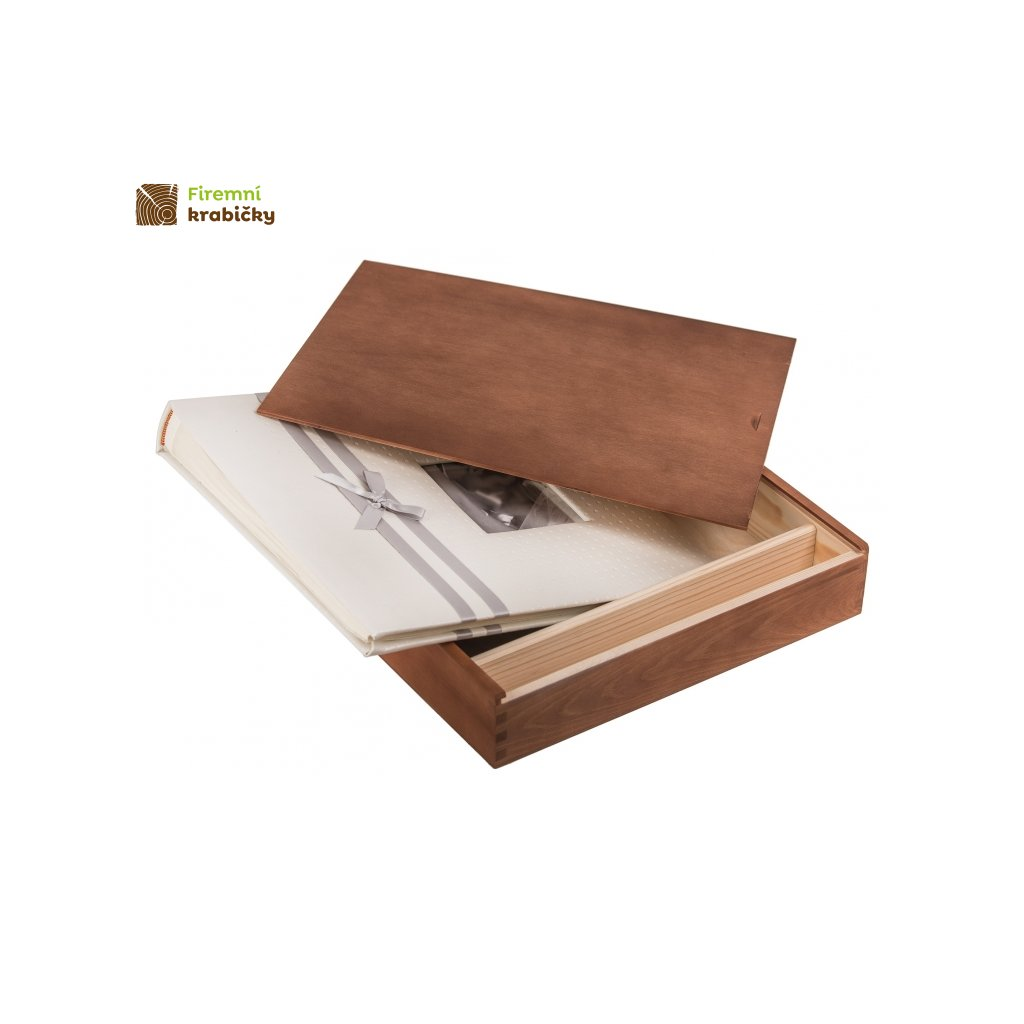 drewniane pudelko na album i pendrive orzech