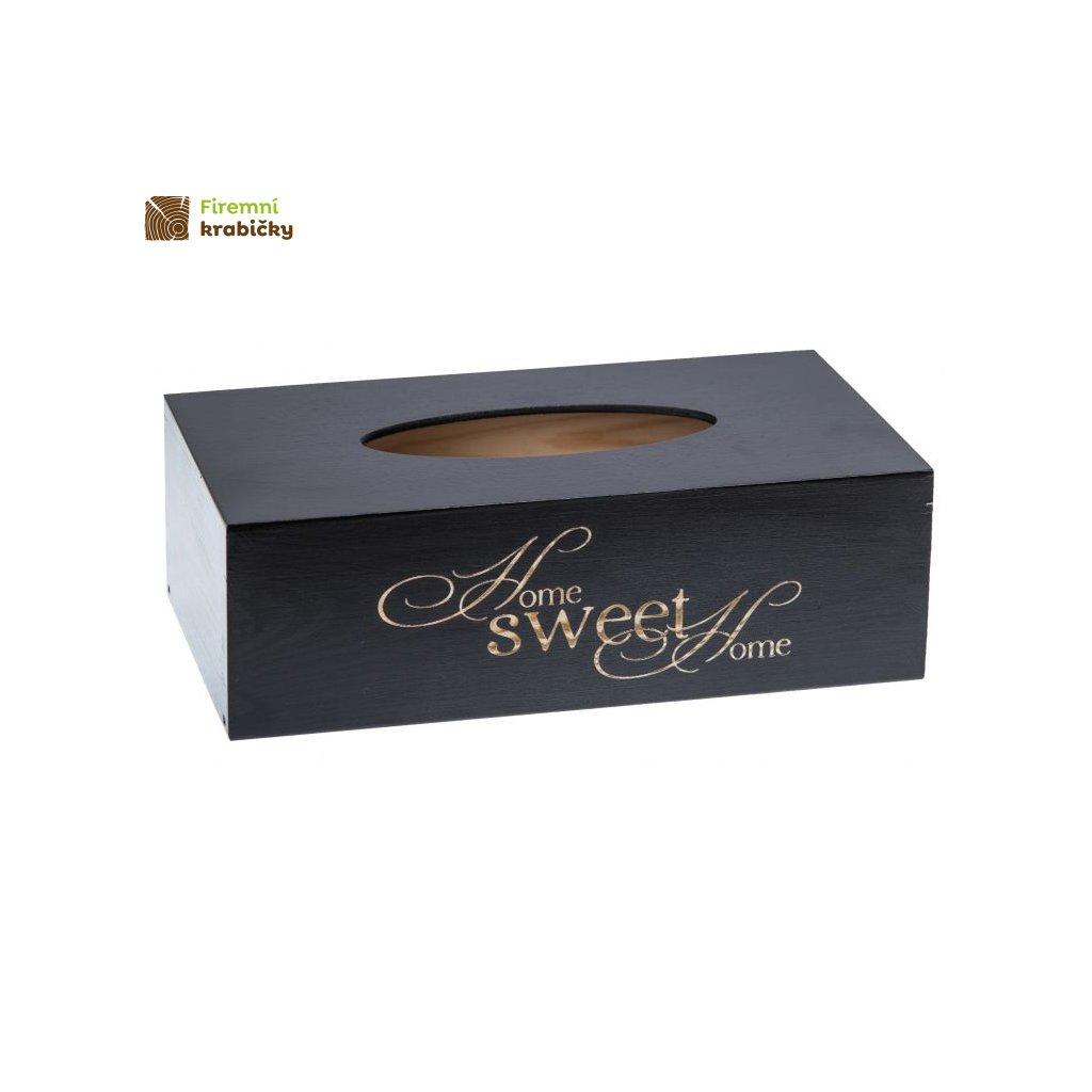 pudelko drewniane na chusteczki chustecznik pojemnik ozdoby czarny