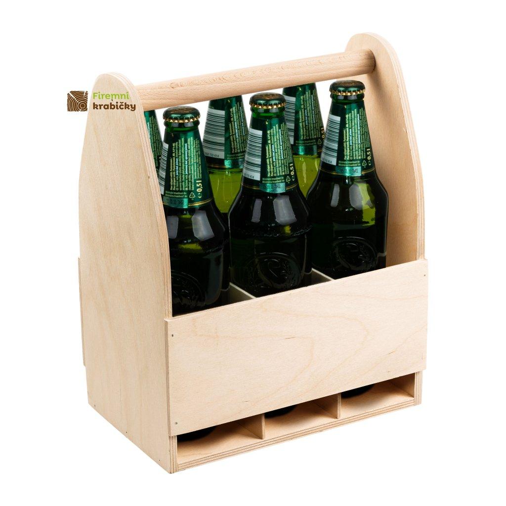 drewniane nosidelko na 6 butelek