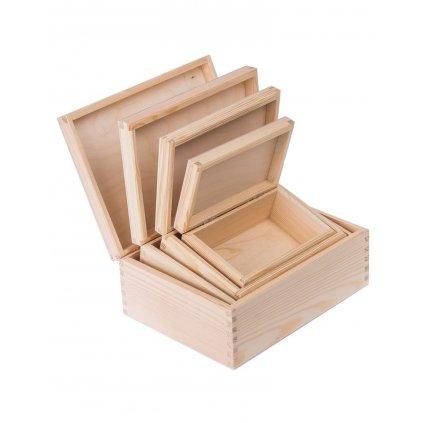 drewniane pudelko pojemnik 4w1 prostokat