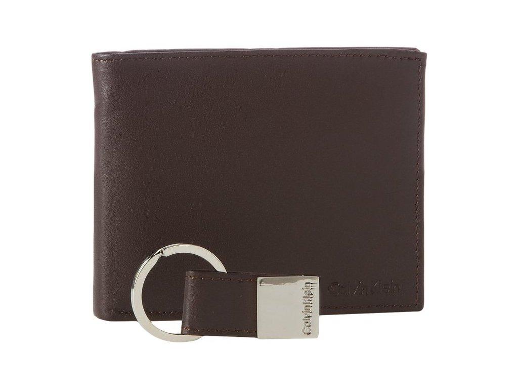 Calvin Klein pánská kožená peněženka hnědá s klíčenkou