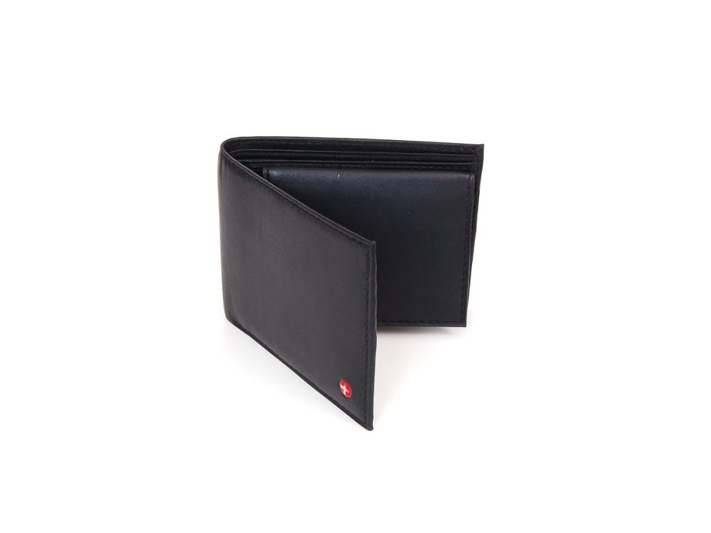 Pánská peněženka Alpine Swiss Leather Bifold Wallet Removable Flip Up ID Window