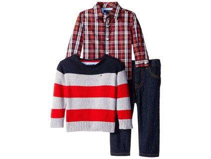 Tommy Hilfiger - dětský set (světřík, košile, kalhoty) red