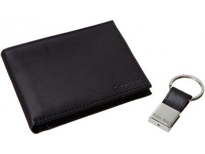 Calvin Klein pánská kožená peněženka černá s klíčenkou