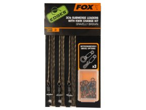 FOX SUBMERGE LEADERS WITH KWIK CHANGE KIT - GRAVELLY BROWN