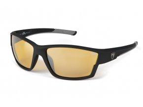 Matt Black Amber Lense Wrap Sunglasses