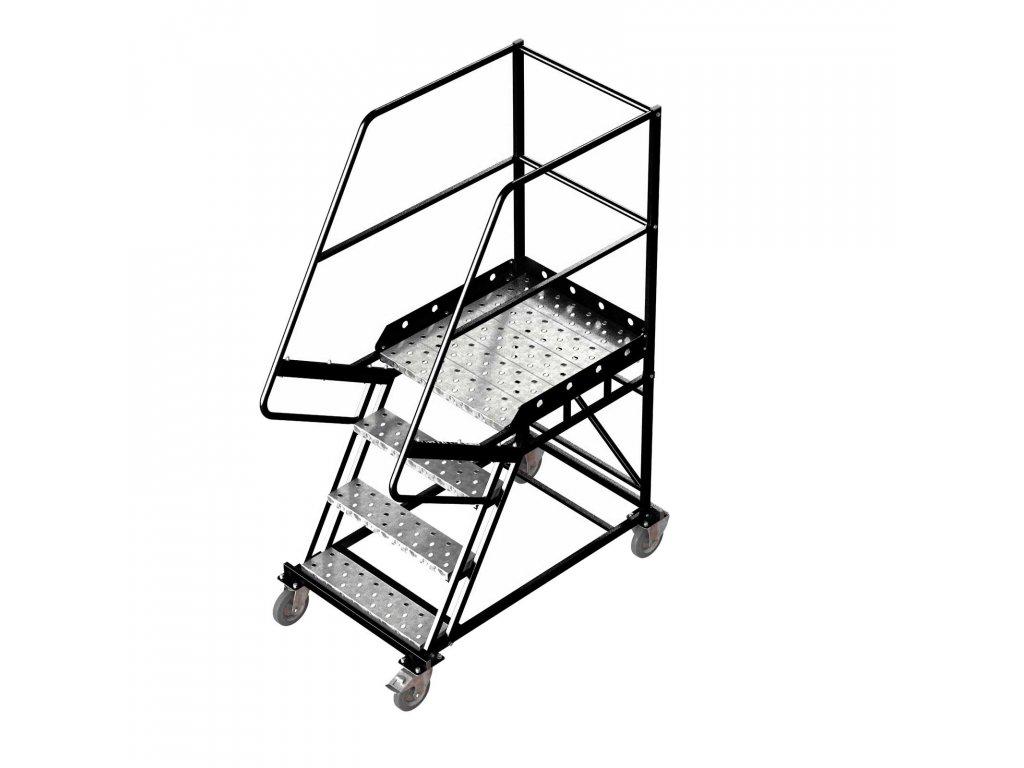 Pojízdný ocelový žebřík s plošinou, 3 stupně, výška k plošině 1 m