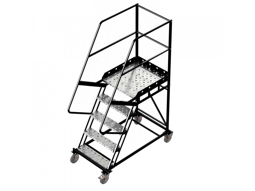 Pojízdný ocelový žebřík s plošinou, 4 stupně, výška k plošině 1,25 m