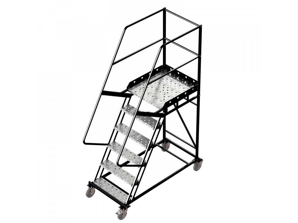 Pojízdný ocelový žebřík s plošinou, 5 stupňů, výška k plošině 1,5 m