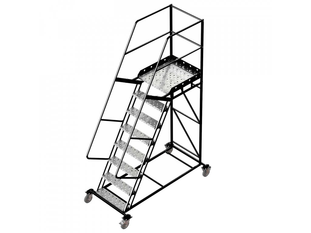 Pojízdný ocelový žebřík s plošinou, 7 stupňů, výška k plošině 2 m