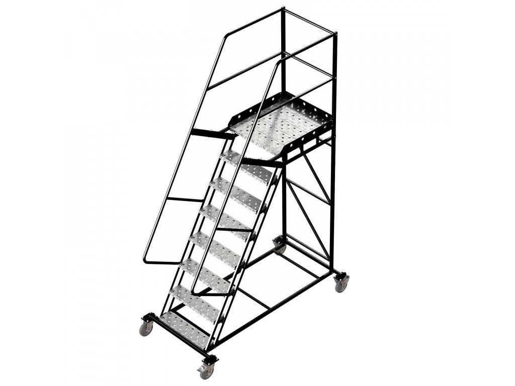 Pojízdný žebřík s plošinou, 7 stupňů, výška k plošině 2m