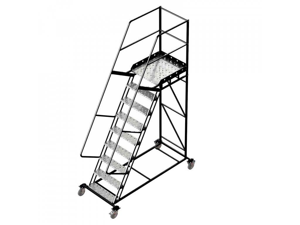 Pojízdný ocelový žebřík s plošinou, 8 stupňů, výška k plošině 2,25 m