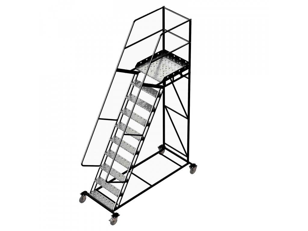 Pojízdný ocelový žebřík s plošinou, 9 stupňů, výška k plošině 2,5 m