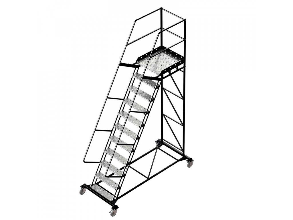 Pojízdný ocelový žebřík s plošinou, 10 stupňů, výška k plošině 2,75 m