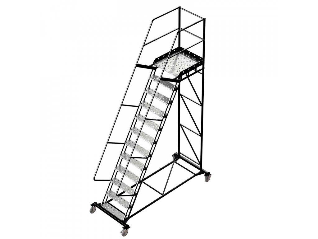 Pojízdný žebřík s plošinou, výška k plošině 3m