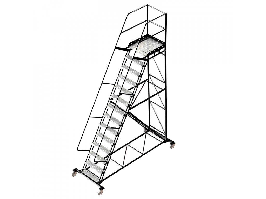 Pojízdný ocelový žebřík s plošinou, 13 stupňů, výška k plošině 3,5 m