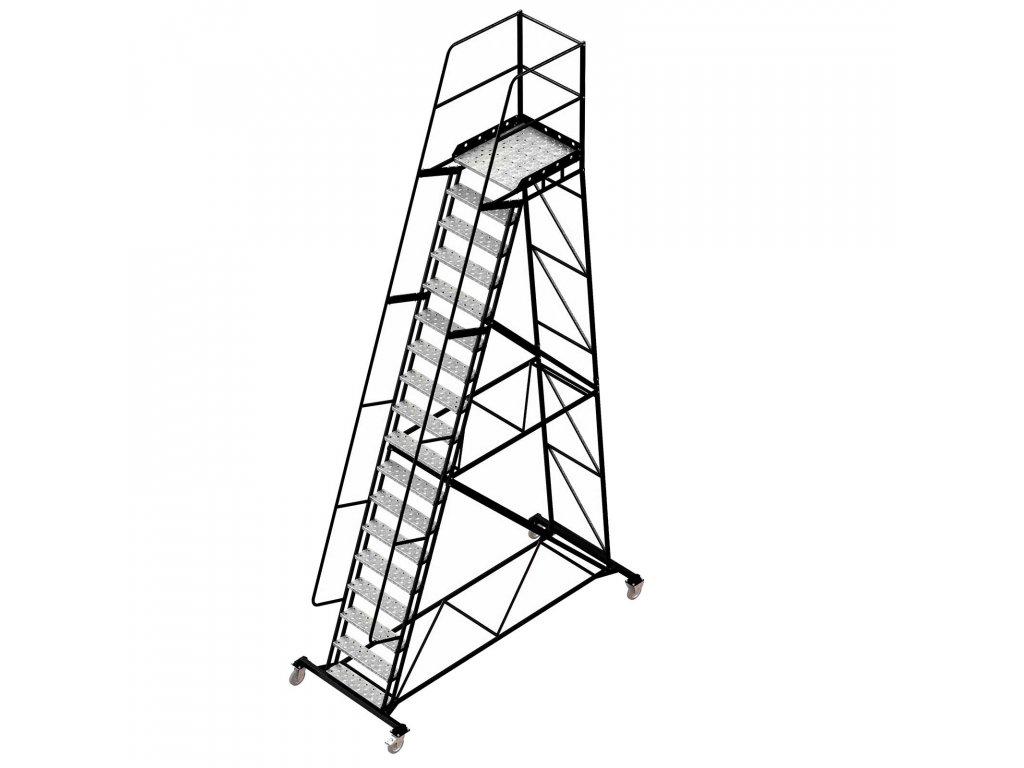 Pojízdný žebřík s plošinou, výška k plošině 4,5m