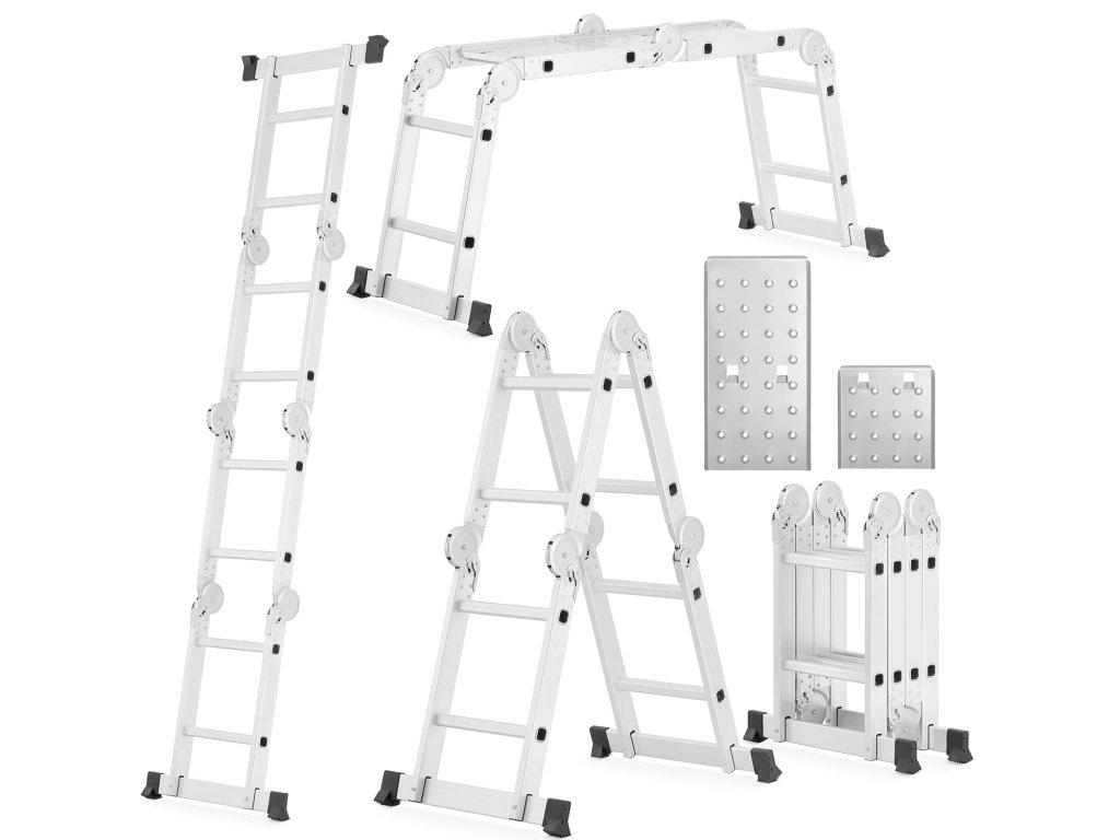 Hliníkový kloubový žebřík 4x2 + platforma