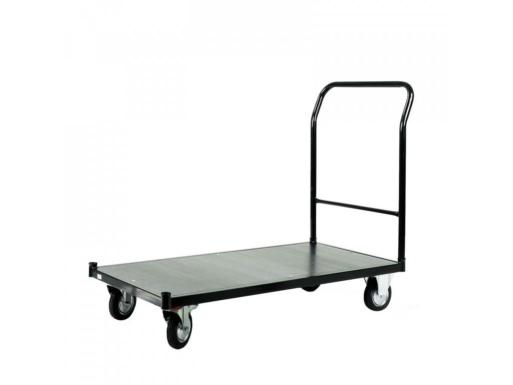 Skladový vozík s nosností 500 kg s brzdou - ČERNÝ