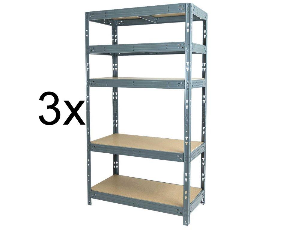 Akce - Balíček: 3x Regál 1800x1050x500 mm lakovaný 5-policový, nosnost 875 kg - šedý